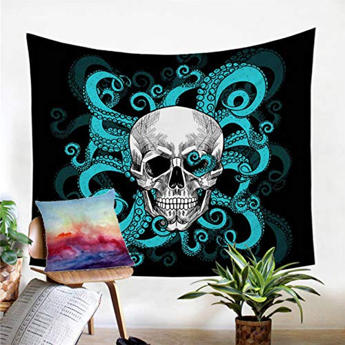 BOBSUY Octopus und Skull Tapestry Tentacles Hand Wall Carpet Gothic Wand hängen Blue Red Bedspread Home Living Room Zimmer Inneneinrichtung Dekoration (Carpet Wand Red)