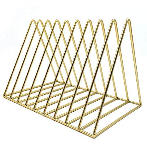 Dreieck Datei Veranstalter Magazinhalter Zeitung Buch Rack Collection Desktop Eisen Lagerregal Bücherregal Magazin Halter Für Büro Dekoration 18 * 26 * 18 cm (Farbe : Gold) -