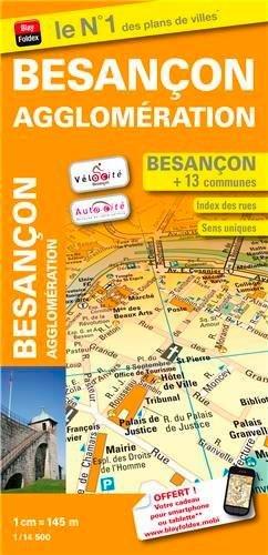 Plan de ville Besançon et de son agglomération - Échelle 1/14 500 - Avec stations Vélocité et Autocité