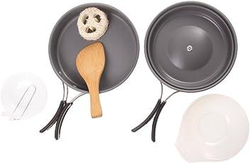 Generic Outdoor Camping Cookware Set Folding Handle Aluminum Pot Pan Spoon Bowl for 1-2 People Use