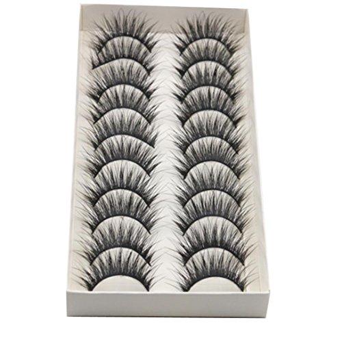 LETTER®Wimpern 10 Paare dickes langes Kreuz-Partei-falsche Wimpern-schwarze Band-gefälschte Augen-Wimpern (Schwarz)