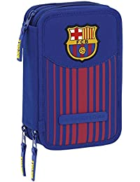 FC Barcelona 411729057 Trousse Triple, Premium, 3 compartiments, feutres, crayons, accessoires école 41 pièces, Polyester, Multicolore
