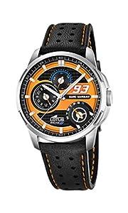 Lotus Marc Márquez Collection 2015Hombre Reloj con mecanismo de cuarzo naranja esfera analógica pantalla y correa de cuero negro 18241/3 de Lotus