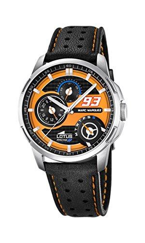 Lotus 18241/3 - Reloj Colección Marc Marquez 2015 de pulsera de cuarzo análogo con esfera naranja para hombre, con correa de cuero negra