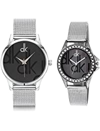 Briota New Fashion Black Dial Color With Silver Color Strap Analogue Watch For Couples Pack Of 2