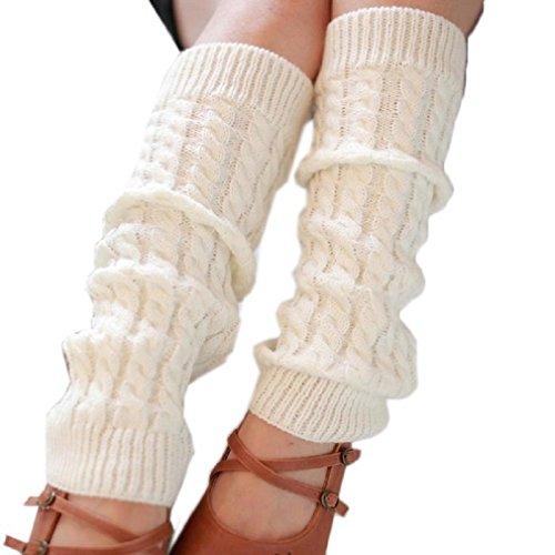 Tonsee Wesentlichen 42 * 10cm Mode Frauen winter warme Stulpen gestrickt gehäkelt lange Socken Winter Warmmer Bein Socken (weiß)