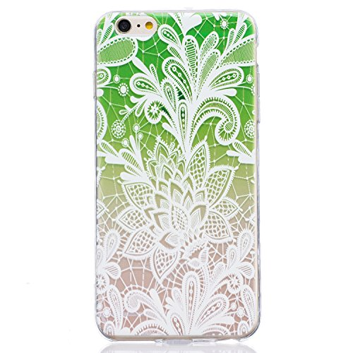 Cover iPhone 6 Plus in Silicone, LuckyW TPU Silicone Custodia per Apple iPhone 6/6S Plus(5.5 pollice) Colorful Pattern Design Transparente Gomma Gel Clear Limpido Bumper Case Cover Ultra Sottile Ultra Lace Flower