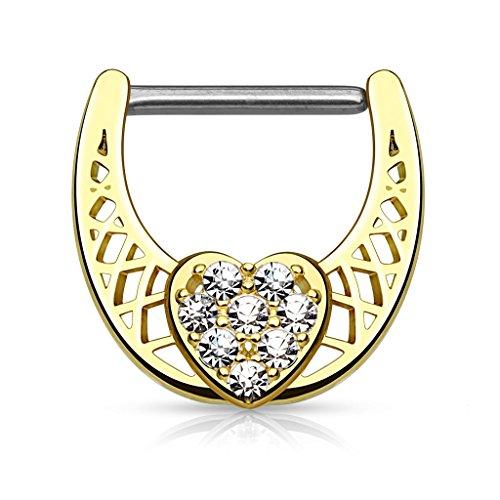 Piercingfaktor Intimpiercing mit Kristall Herz / Gold