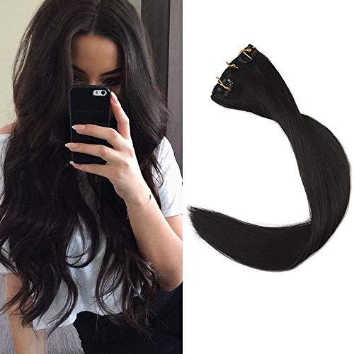 Full Shine 14 Zoll Klipp in Den Haar-Verlängerungen 9Pcs / Set überlegene Salon-Qualitäts-Farbe # 1b Gerade 120 Gramm mit Haarclips Clip in Menschliches Haar