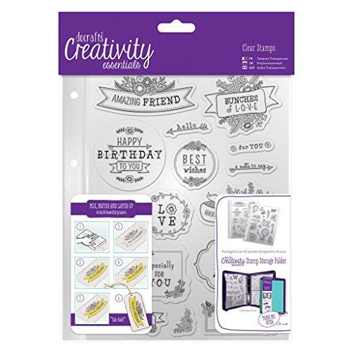 Creative Essentials A5transparent Folk Sentiments Collection Stempel Set Badger Inks Tonerpatronen