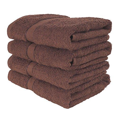 4er Pack weiche TERRYLAND Frottee Handtücher 50x90 cm - 100% Baumwolle, Oeko-Tex® Standard 100, Bordüre - Farbe: Cappuccino Brown (Braunen-bad-handtücher)