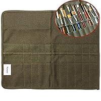 yosoo 43,2x 35,6cm Rolle bis Leinwand Künstler Watercolor Zeichnen Stift Öl Pinsel Tasche Fall Halter,-22Slots, Armee Grün