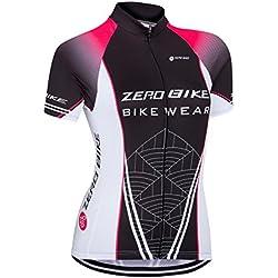 Camiseta de ciclismo de manga corta con cremallera para mujer de Zerobike®, de secado rápido, prenda deportiva y transpirable, color Type 8, tamaño small