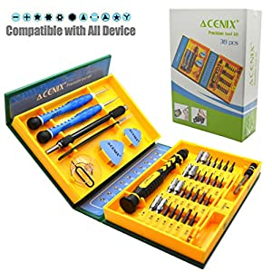 ACENIX® S2-Legierung Stahl Material, 38 in 1 Schraubendreher Präzisions-Reparatur Tool Kit für Tablet, Laptop, PC, Smartphone iPad iPhone 6 Plus 6S 5S 6 5 C 5 4 S2 S3 S4 S5 S6 S6 Rand S6 Rand auch S7 Bildschirme von Notebook
