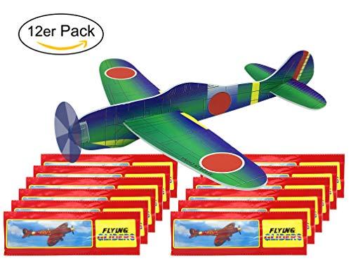 Gleit-Flugzeuge im Mehrfachpack | Styropor-Flieger für Kinder-Geburtstag u. Geburtstags-Party | Mitgebsel Mitbringsel Tombola Schultüte Überraschung Segel-Flugzeug Wurf-Gleiter (Flugzeug Gleiter 12er)