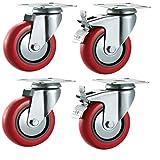 100mm de polyuréthane Roulettes pivotantes avec freins (Rouge)?Heavy Duty PU?Meubles, Appliance et roues d'équipement en Bulldog Roulettes?Max