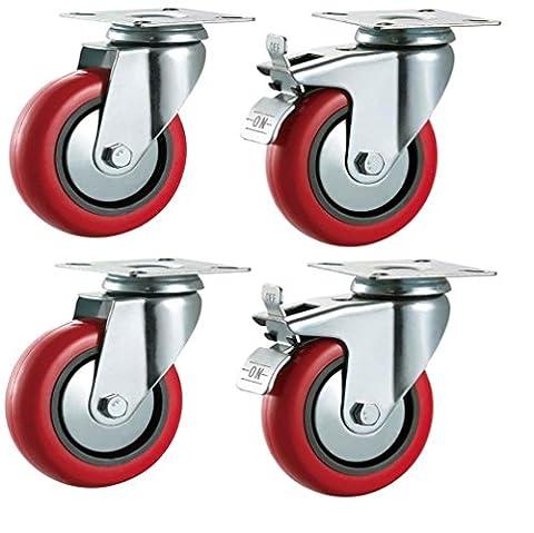 75mm de polyuréthane Roulettes pivotantes avec freins (Rouge)?Heavy Duty PU?Meubles, Appliance et roues d'équipement en Bulldog Roulettes?Max 280kg par lot