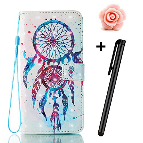 iPhone X(2017) Lederhülle,iPhone X Hülle,TOYYM Retro Wallet Design PU Leder Stand Funktion Flip Cover Brieftasche Case mit Kartenfächer,3D Kreativ Muster Magnet Bookstyle Tasche Innere Bumper Silikon  Dreamcatcher