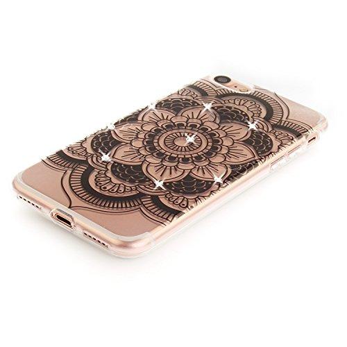 Case iPhone 7 , Coque iPhone 7 , Anfire Étui Souple Flexible en Premium TPU Apple iPhone 7 (4.7 pouces) Motif Fleur de Paon Ultra Mince Gel Silicone Cas Bling Bling Strass Clair Transparent Housse de  Jaune