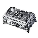 Belons Retro Rose Rechteck Schmuckkästchen Schmuckdose Schmuckschatulle Zinklegierung Schmuckbox für Damen Kinder, Antike Silber