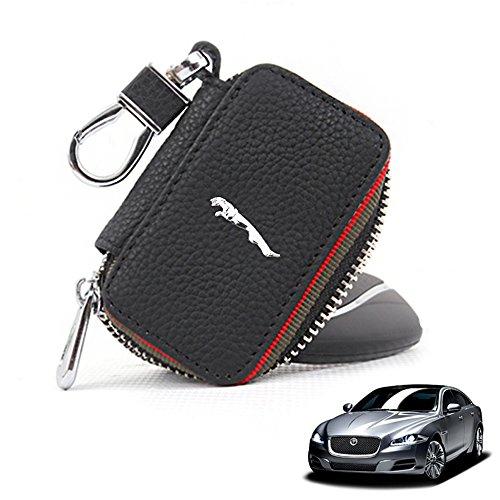 Preisvergleich Produktbild OPAYIXUNGS Leder-Auto-Schlüsselhalter-Kasten Schlüsselanhänger Münzen-Geldbeutel Jaguar logo
