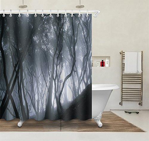 LB 180x180cm Polyester Stoff Bad Vorhänge mit 12 Haken Wasserdicht Halloween Schrecklicher Wald 3D-Druck Gemusterten Duschvorhang für Bad Dekoration (Halloween Duschvorhang)