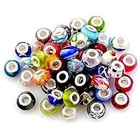 981acc299 Nambeads © 10 Mixed Murano glass beads to fit Pandora style charm bracelets.Slide  on