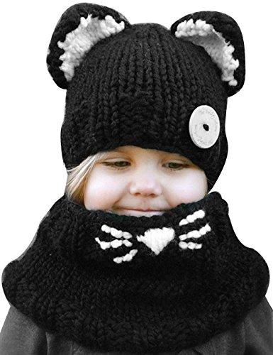 Befied Junge Mädchen Schalmütze Baumwolle Winter Strickmütze Kindermütze Kombi-Set Süß Tier Zwei Stile Fuch/Katze Mütze (Hut Schal Katze Mit)