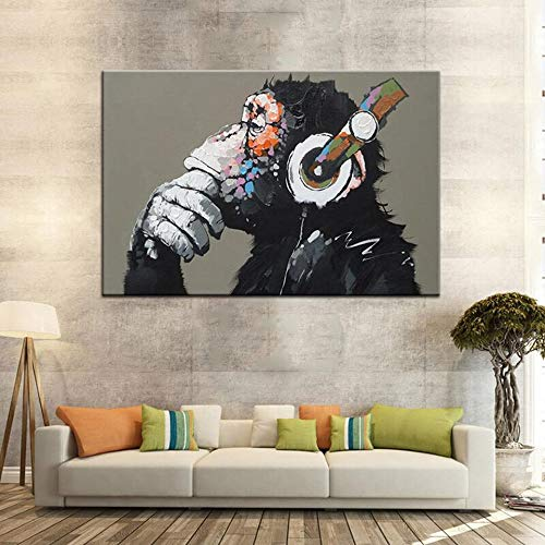 haochenli188 Leinwand Malerei Wandkunst 1 Panel/Pcs Lustige Denken AFFE Mit Kopfhörer Bild HD Print Tier AFFE Poster Wohnkultur 60 * 90 cm