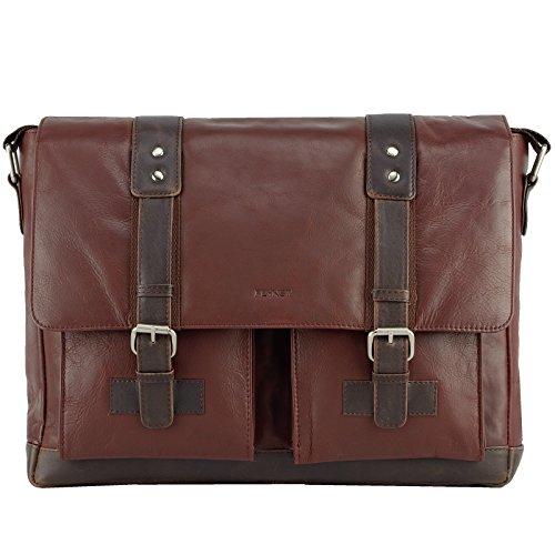 Echt Leder Messenger Bag Aktentasche Schultertasche Umhängetasche DIN-A4 Laptoptasche 15,6 Henkeltasche braun
