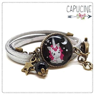Bracelet argenté avec cabochon verre licorne - Bracelet breloques bronze - Bracelet multi-rangs - Bracelet Licorne aux Étoiles
