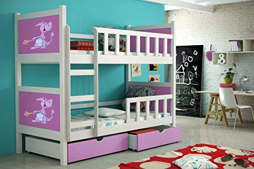 Etagenbett aus Kieferholz 200 x 88 x 160 cm Lackiert Babybett Kinderbett Bett Schlafzimmer Kindermöbel + Schubladen + Matratzen Lattenrost aus Flex-Leisten (2) -