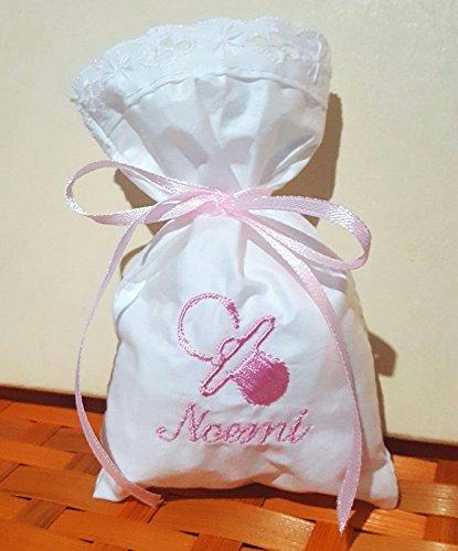 Crociedelizie, Stock 40 sacchetti bomboniere portaconfetti con ricamo nome bimbo bimba + piccolo ricamo ciuccio (Rosa Piccolo Stock)