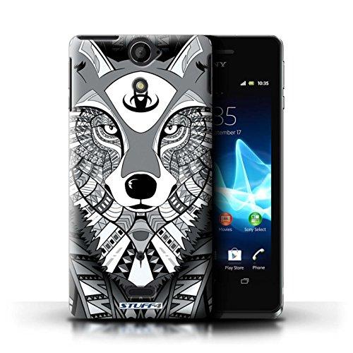 Kobalt® Imprimé Etui / Coque pour Sony Xperia V/LT25i / Loup-Couleur conception / Série Motif Animaux Aztec Loup-Mono