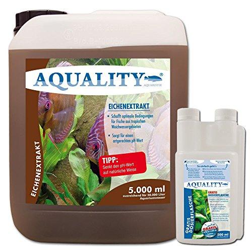 AQUALITY Eichenextrakt (GRATIS Lieferung in DE - Senkt den pH-Wert im Aquarium, schafft optimale Bedingungen für Fische aus tropischen Weichwassergebieten, artgerechter pH-Wert), Inhalt:5 Liter