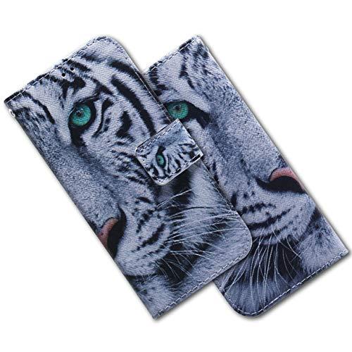 MRSTER LG Q60 Hülle Leder, Langlebig Leichtes Klassisches Design Flip Wallet Case PU-Leder Schutzhülle Brieftasche Handyhülle für LG Q60 / LG K50. EF PU- White Tiger