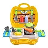 Upgrow Kinder-Rollenspiele Küchenspielzeug Kochen Spielzeugsets Kinderküche Set (26 Stücke Zubehör) Kleine Küche im Koffer für Kinder ab 3 Jahre