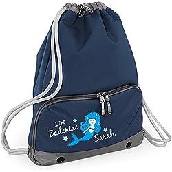 Schwimmtasche mit Namen | Bedruckt & Personalisiert | Motiv Meerjungfrau & Wasser | inkl. Nassfach, Fronttasche & großes Hauptfach | Schwimmbeutel, Kinder, Mädchen, Schwimmunterricht