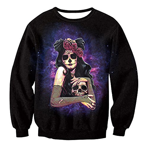 Erwachsene Top 10 Für Kostüm - XIXICLOTHES Halloween Cosplay Zombie Ghost Vampire Hexe 3D Print Pullover Top Coat Sweatshirt Jacke Erwachsene Frauen/Männer Kostüme,10,XXL