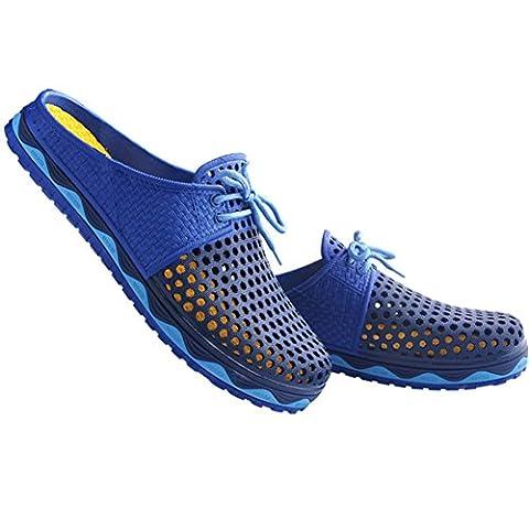 VWU Unisex Herren Damen Sommer Outdoor Breathable Mesh Backless Schuhe Strand Aqua Clogs Anti Rutsch Slip On Hausschuhe Beach Sandals (42 M EU, Navy blau)