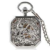 Luxus Taschenuhr, Silber Ton Luxus Mechanische Taschenuhr, Doppel Tiger Muster Geschenke für Männer Frauen