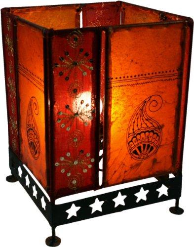 Guru-Shop Lederleuchte - Saree Tischlampe / Tischleuchte Chennai, Orange, 30x20x20 cm, Orientalisches Kunsthandwerk