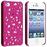 SODIAL(R) Funda para Apple iPhone 4 / 4S, Nido de Ave Color Rosa Brillante