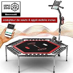 Sportstech HTX100 Trampoline de Fitness Intelligent, connecté avec Appli + Compteur de sauts & Ceinture Cardio, 133 cm, Pliable, Hauteur de poignée réglable avec Porte-Gourde & Smartphone, Indoor