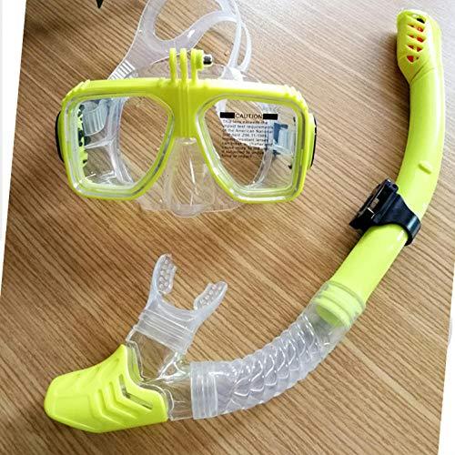 zxcvb Tauchmasken freie Atmung,kein Eindringen von Wasser Tauchen Sportartikel Schwimmen Schnorchel Set- gelb transparent Silikon