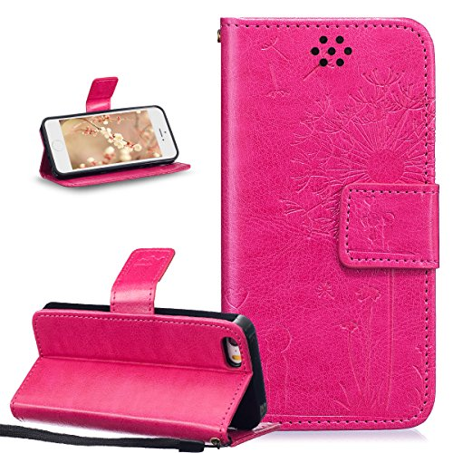 ikasus Coque iPhone SE 5S 5 Etui Gaufrage Amour amants pissenlit Housse Cuir PU Housse Etui Coque Portefeuille Protection supporter Flip Case Etui Housse Coque pour iPhone SE 5S 5,Rose rouge