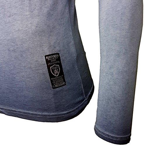Rusty Neal Herren Langarm Figurbetont Longsleeve Hemd T-Shirt Slim RN-10115 Neu Blau