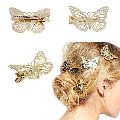 Lot de 2 Métal Doré Papillon Pince à cheveux Coiffe Bandeau pour mariée Accessoires Cheveux