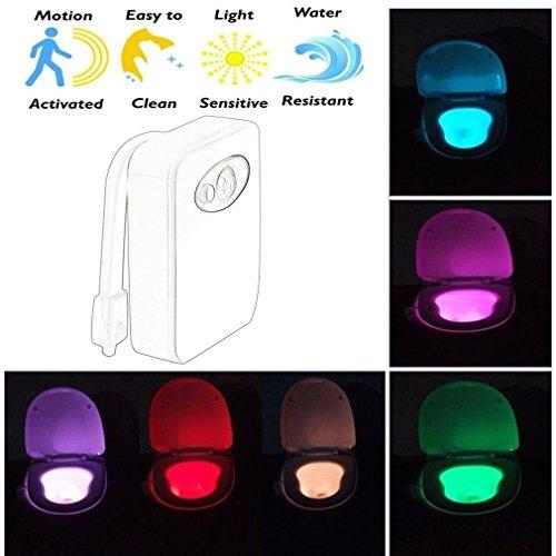 Farbe Automatischer Farbwechsel LED WC Badezimmer Motion aktiviert Sensor Nachtlicht UK