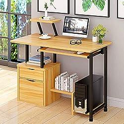 Mesa de Ordenador , Escritorio, Mesa de Oficina con cajonera Bandeja para Teclado, armario y estantes de almacenamiento, mesa de estudio para espacios pequeños 100 x 45 x 72 cm